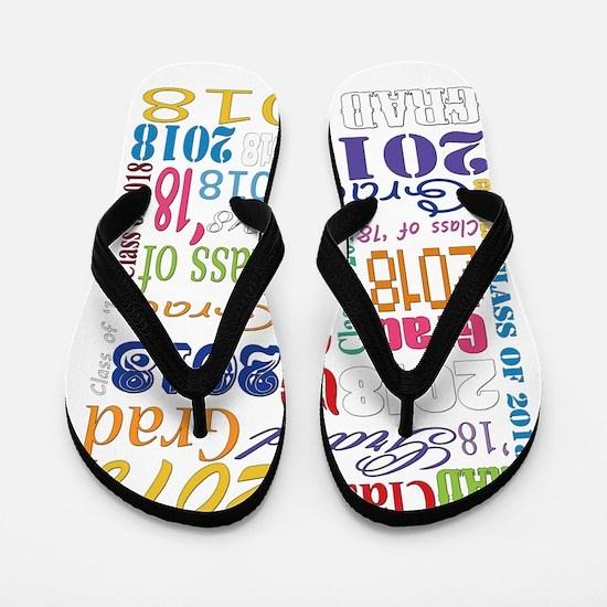 2018 Graduation Typography Flip Flops