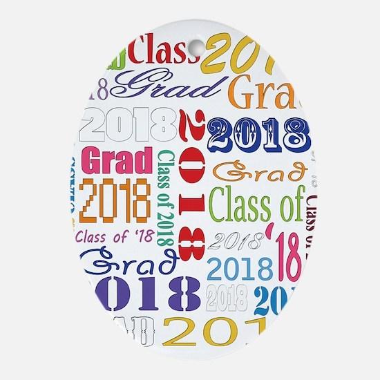 2018 Graduation Typography Oval Ornament
