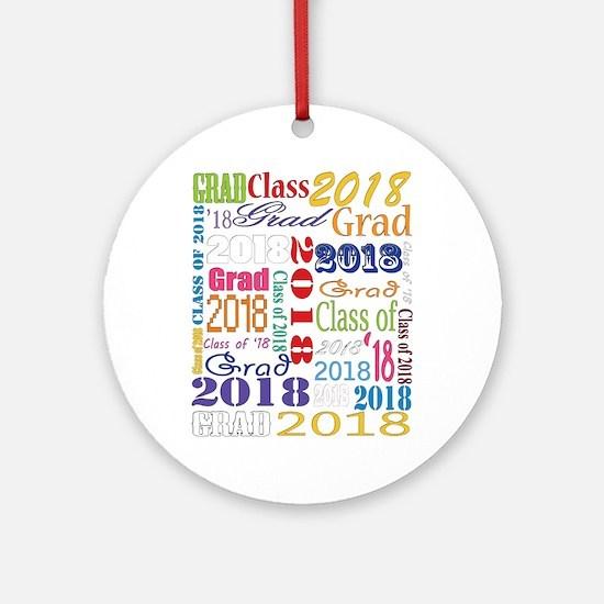 2018 Graduation Typography Round Ornament