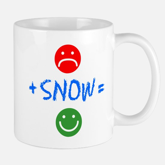 Plus Snow Equals Happy Mugs