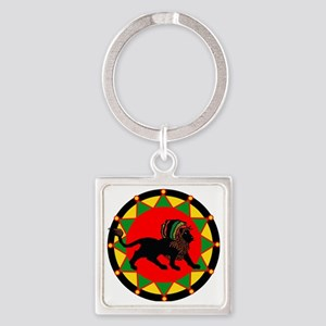 Jah King Rasta Lion Square Keychain