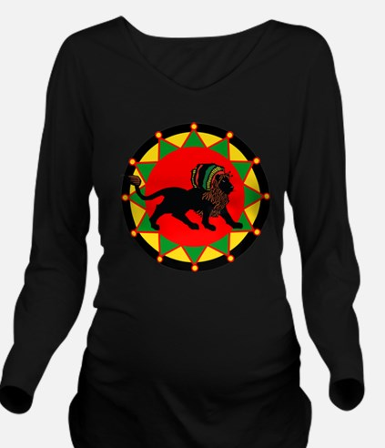 Jah King Rasta Lion Long Sleeve Maternity T-Shirt