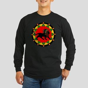 Jah King Rasta Lion Long Sleeve Dark T-Shirt