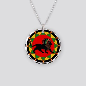Jah King Rasta Lion Necklace Circle Charm