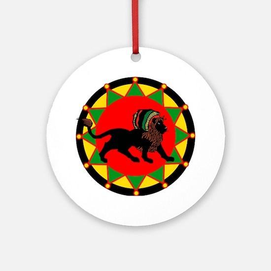 Jah King Rasta Lion Round Ornament