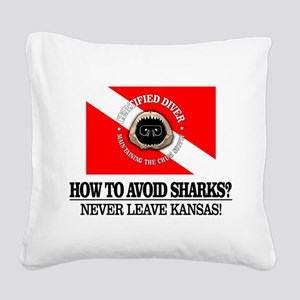 How To Avoid Sharks Square Canvas Pillow