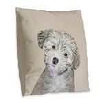 Havanese Puppy Burlap Throw Pillow