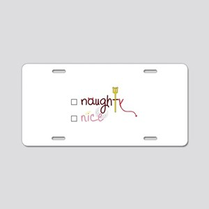 Naughty or Nice Aluminum License Plate