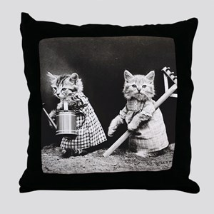 Kittens At Work Throw Pillow