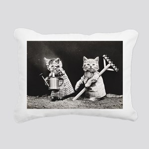 Kittens At Work Rectangular Canvas Pillow