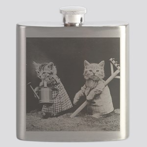 Kittens At Work Flask