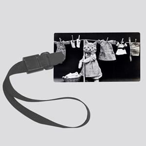 Cats At Work Large Luggage Tag