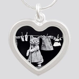 Cats At Work Silver Heart Necklace