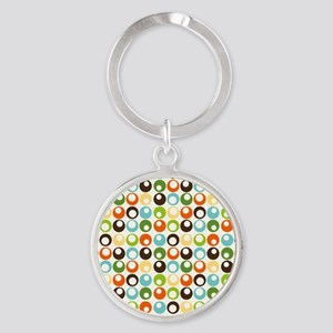 Retro Mod Abstract Circles Round Keychain
