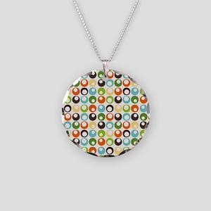 Retro Mod Abstract Circles Necklace Circle Charm