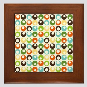 Retro Mod Abstract Circles Framed Tile