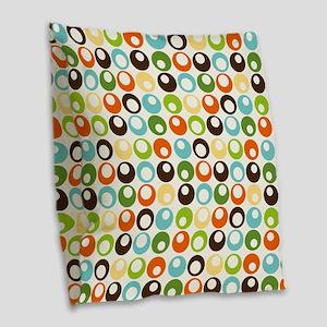 Retro Mod Abstract Circles Burlap Throw Pillow