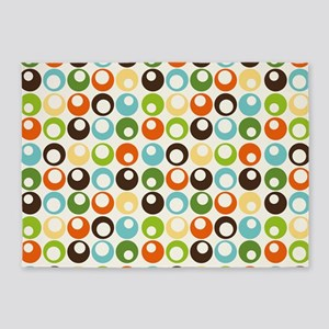 Retro Mod Abstract Circles 5'x7'Area Rug