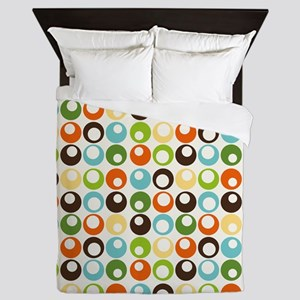 Retro Mod Abstract Circles Queen Duvet