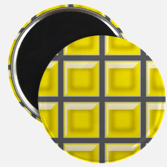 YELLOW AND GRAY GRID Magnets