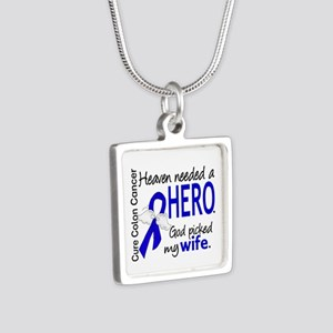Colon Cancer HeavenNeededH Silver Square Necklace