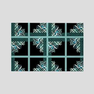 TEAL & BLACK Rectangle Magnet