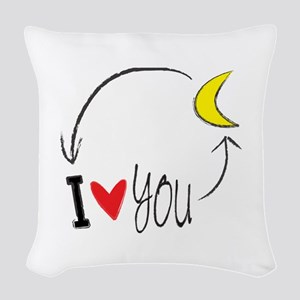 I love you to the moon and back Woven Throw Pillow