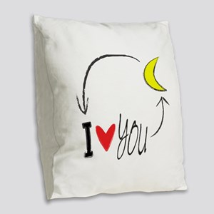 I love you to the moon and back Burlap Throw Pillo