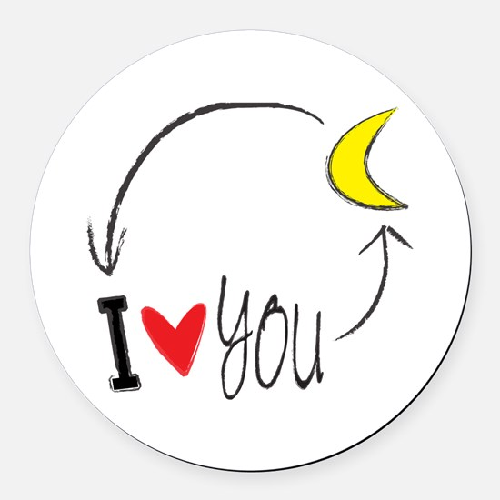 I love you to the moon and back Round Car Magnet
