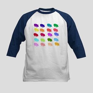 Rainbow Pigs Kids Baseball Jersey