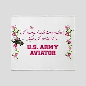 I Raised An Army Aviator Throw Blanket