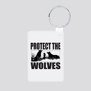 PROTECT THE WOLVES Aluminum Photo Keychain