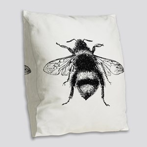 Vintage Honey Bee Burlap Throw Pillow