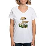 Snail in Mushroom Garden Women's V-Neck T-Shirt