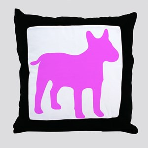 Pink Bull Terrier Silhouette Throw Pillow