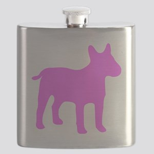 Pink Bull Terrier Silhouette Flask