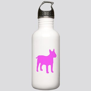 Pink Bull Terrier Silhouette Water Bottle
