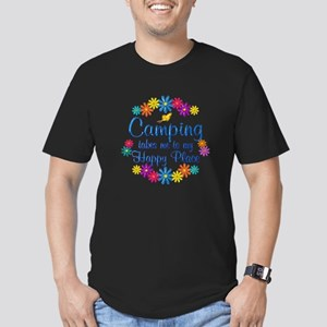 Camping Happy Place Men's Fitted T-Shirt (dark)