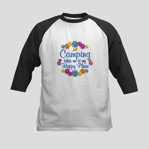 Camping Happy Place Kids Baseball Jersey