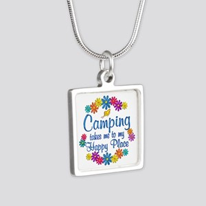 Camping Happy Place Silver Square Necklace