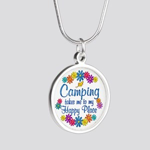 Camping Happy Place Silver Round Necklace