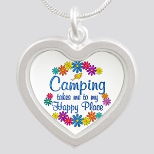 Camping Happy Place Silver Heart Necklace