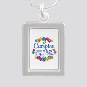 Camping Happy Place Silver Portrait Necklace