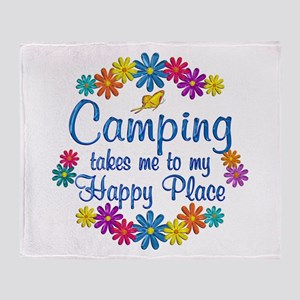 Camping Happy Place Throw Blanket