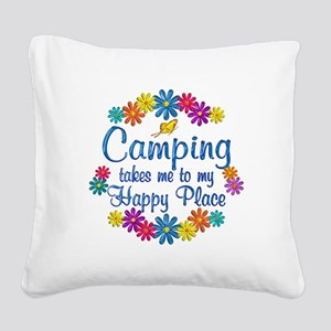 Camping Happy Place Square Canvas Pillow