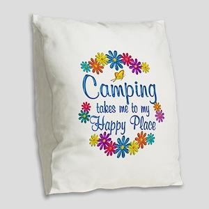 Camping Happy Place Burlap Throw Pillow