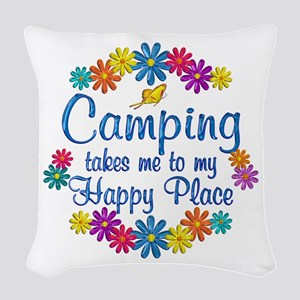 Camping Happy Place Woven Throw Pillow