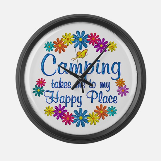 Camping Happy Place Large Wall Clock
