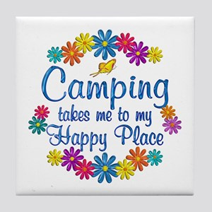 Camping Happy Place Tile Coaster