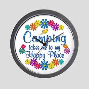 Camping Happy Place Wall Clock